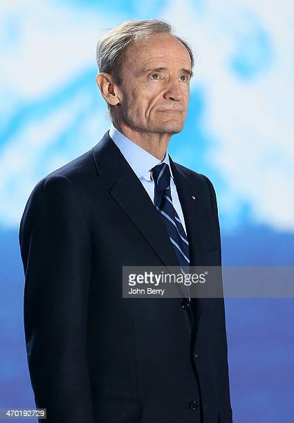 French Olympian JeanClaude Killy delivers the medals during the medal ceremony for the Men's 15 km Mass Start on day 11 of the Sochi 2014 Winter...