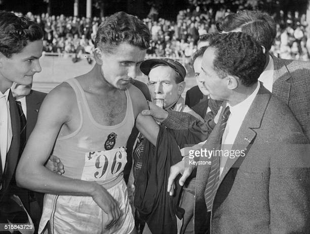 French Olympic athlete Michel Jazy after beating the previous national 1500m record set by Alain Mimoun Rome 1960