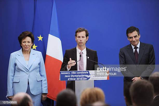 French Olympic Champion and General Manager of the Annecy's candidacy Edgard Grospiron speaks during a press conference in Paris on June 25 after a...