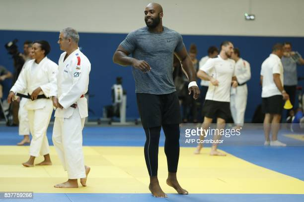 French Olympic Judo champion Teddy Riner trains at the French National Institute for Sport and Physical Education in Paris on August 23, 2017 ahead...
