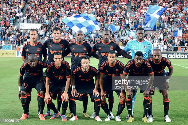 French Olympique Marseille football players for the 20122013 season LtoR second row Benoit Cheyrou Andre Pierre Gignac Charles Kabore Rod Fanni Steve...