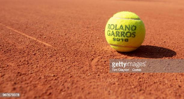 French Open Tennis Tournament A tennis ball on a clay court at the 2018 French Open Tennis Tournament at Roland Garros on May 24th 2018 in Paris...