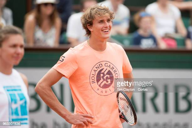 French Open Tennis Tournament Alexander Zverev of Germany on Court Philippe Chatrier during a packed Children's Day at Roland Garros before the start...
