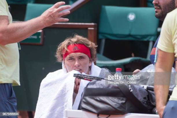 French Open Tennis Tournament Alexander Zverev of Germany training on Court Philippe Chatrier in preparation for the 2018 French Open Tennis...