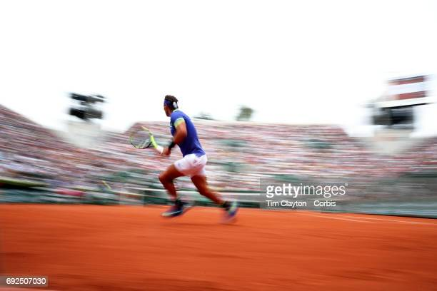 French Open Tennis Tournament Day Eight Rafael Nadal of Spain in action against Roberto Bautista Agut of Spain during the Men's Singles round four...