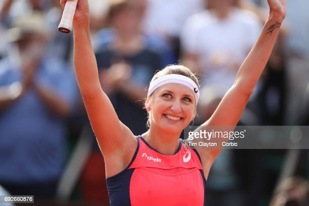 French Open Tennis Tournament Day Eight Timea Bacsinszky of Switzerland celebrates her win against Venus Williams of the United States during the...
