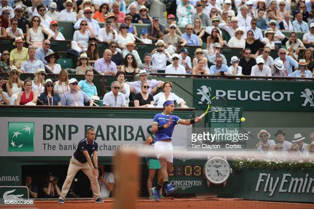 French Open Tennis Tournament Day Fifteen A general view of Rafael Nadal of Spain in action against Stan Wawrinka of Switzerland in the Men's Singles...