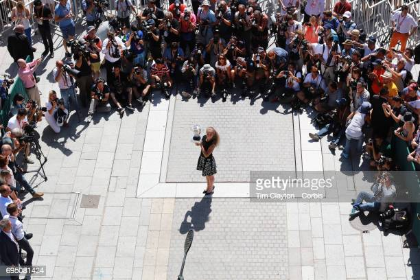 French Open Tennis Tournament - Day Fifteen. Jelena Ostapenko of Latvia, winner of the Women's Singles event, during a photo opportunity at the...