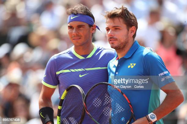 French Open Tennis Tournament - Day Fifteen. Rafael Nadal of Spain and Stan Wawrinka of Switzerland before the Men's Singles Final match on...