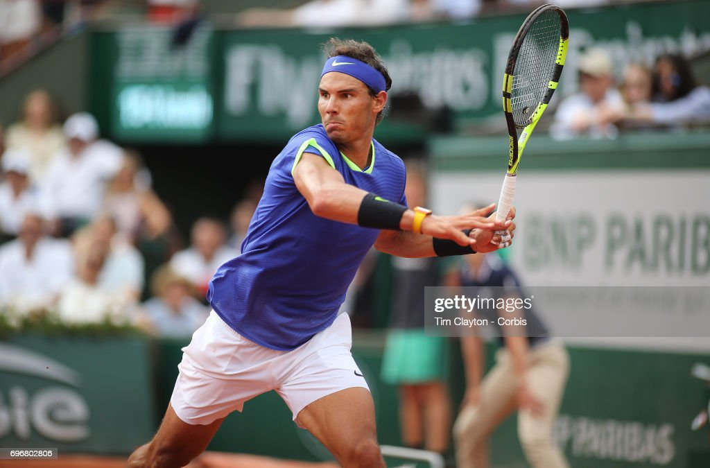 French Open Tennis Tournament - Day Fifteen. Rafael Nadal of Spain in action against Stan Wawrinka of Switzerland in the Men's Singles Final match on Philippe-Chatrier Court at the 2017 French Open Tennis Tournament at Roland Garros on June 11th, 2017 in Paris, France.