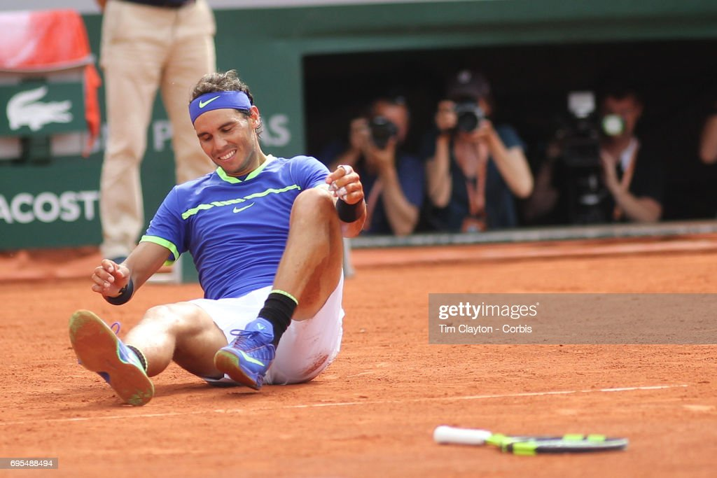 French Open Tennis Tournament - Day Fifteen. Rafael Nadal of Spain celebrates winning against Stan Wawrinka of Switzerland in the Men's Singles Final match on Philippe-Chatrier Court at the 2017 French Open Tennis Tournament at Roland Garros on June 11th, 2017 in Paris, France.