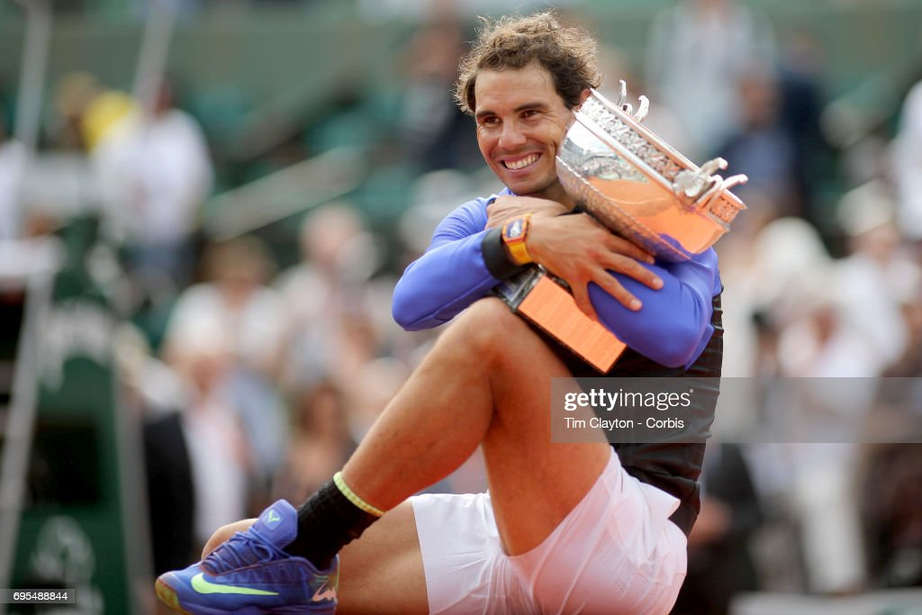 French Open Tennis Tournament - Day Fifteen. Rafael Nadal of Spain with the trophy after his win against Stan Wawrinka of Switzerland in the Men's Singles Final match on Philippe-Chatrier Court at the 2017 French Open Tennis Tournament at Roland Garros on June 11th, 2017 in Paris, France.