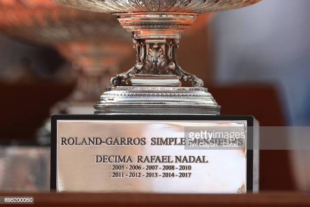 French Open Tennis Tournament Day Fifteen The second trophy given to Rafael Nadal of Spain after his tenth Roland Garros victory after he defeated...