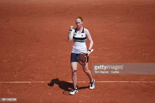 French Open Tennis Tournament Day Five Alison Van Uytvanck of Belgium in action against Agnieszka Radwanska of Poland on SuzanneLenglen Court during...