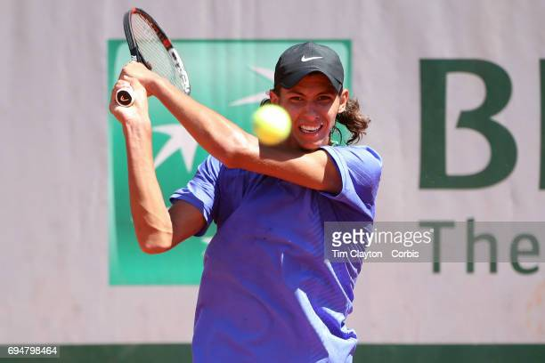 French Open Tennis Tournament Day Fourteen Alexei Popyrin of Australian defeating Nicola Kuhn of Spain to win the Boy's Singles Final match on Court...
