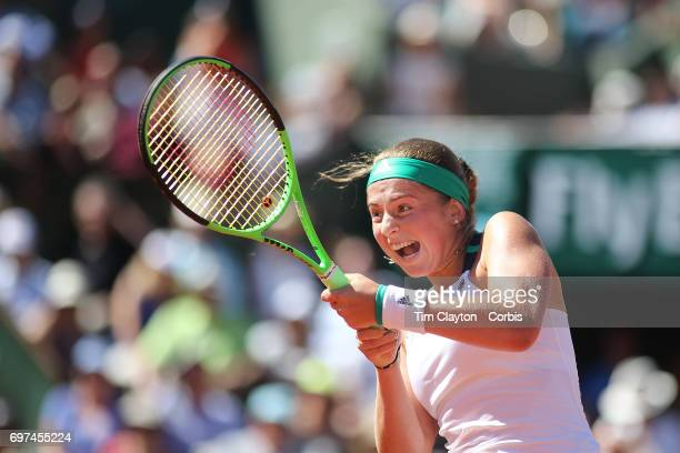 French Open Tennis Tournament - Day Fourteen. Jelena Ostapenko of Latvia in action against Simona Halep of Romania in the Women's Singles Final match...