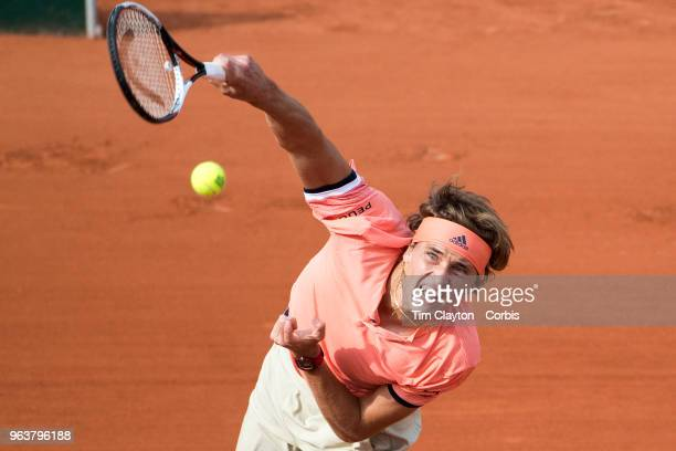 French Open Tennis Tournament Day One Alexander Zverev of Germany in action against Ricardas Berankis of Lithuania on Court SuzanneLenglen in the...