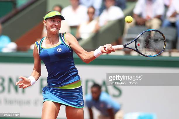French Open Tennis Tournament Day One Ekaterina Makarova of Russia hits a winner on match point during her victory over Angelique Kerber of Germany...