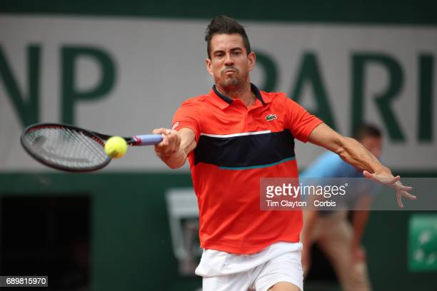 French Open Tennis Tournament - Day One. Guillermo Garcia-Lopez of Spain in action against Gilles Muller of Luxembourg during the Men's Singles Round...