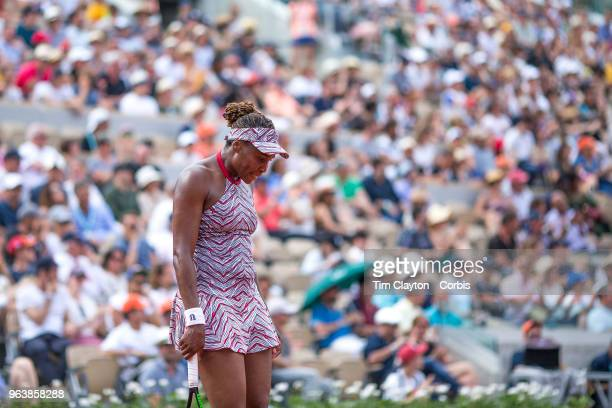 French Open Tennis Tournament Day One Venus Williams of the United States during her loss to Wang Qiang of China on Court SuzanneLenglen in the...