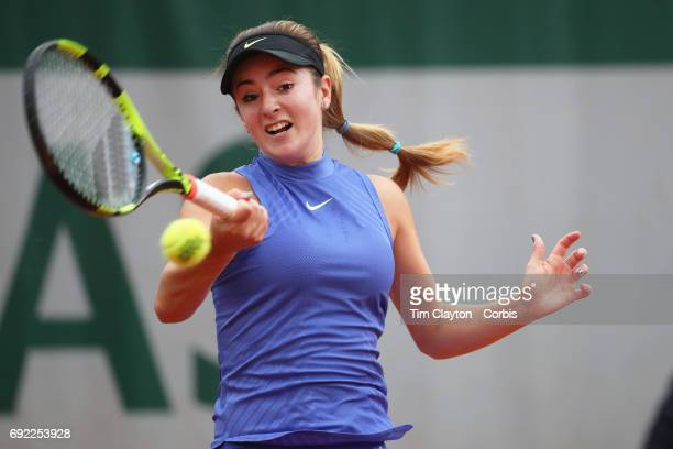 French Open Tennis Tournament Day Seven Catherine Bellis of the United States in action against Caroline Wozniacki of Denmark during the Women's...