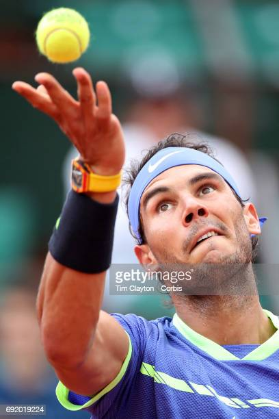 French Open Tennis Tournament Day Six Rafael Nadal of Spain in action against Nikoloz Basilashvili of Georgia on PhilippeChatrier Court at the 2017...