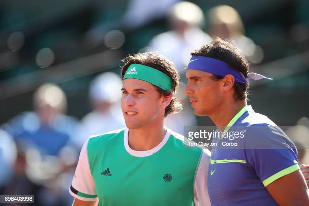 French Open Tennis Tournament Day Thirteen Dominic Thiem of Austria and Rafael Nadal of Spain pose for a photograph before the Men's Singles Semi...