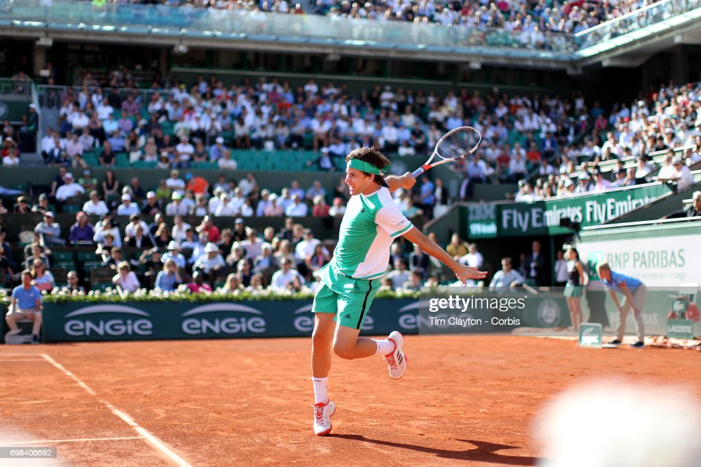 French Open Tennis Tournament - Day Thirteen. Dominic Thiem of Austria in action against Rafael Nadal of Spain in the Men's Singles Semi Final match on Philippe-Chatrier Court at the 2017 French Open Tennis Tournament at Roland Garros on June 9th, 2017 in Paris, France.