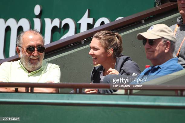 French Open Tennis Tournament Day Thirteen Simona Halep of Romania watching Andy Murray of Great Britain in action against Stan Wawrinka of...