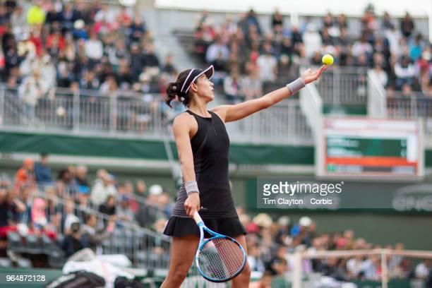 French Open Tennis Tournament Day Three Garbine Muguruza of Spain in action against Svetlana Kuznetsova of Russia on court one in the Women's Singles...