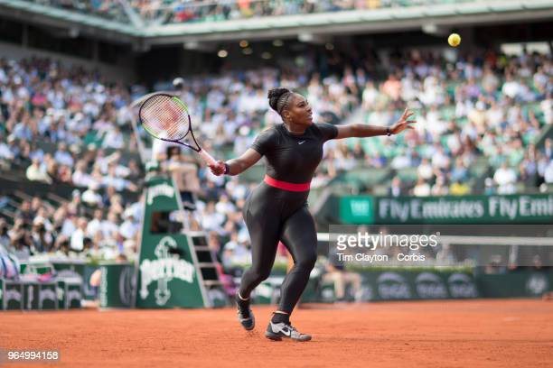 French Open Tennis Tournament - Day Three. Serena Williams of the United States in action against Kristyna Pliskova of the Czech Republic on Court...