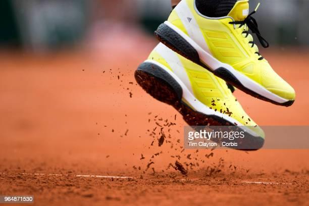 French Open Tennis Tournament Day Three The feet of Garbine Muguruza of Spain serving against Svetlana Kuznetsova of Russia on court one in the...