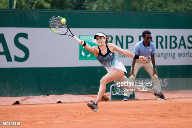 French Open Tennis Tournament Nicole Gibbs of the United States in action during her loss to Veronika Kudermetova of Russia during the 2017 French...