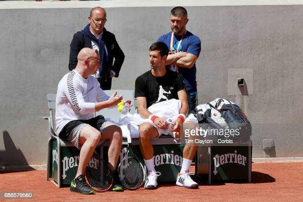 French Open Tennis Tournament Novak Djokovic of Serbia at practice with new coach Andre Agassi in preparation for the 2017 French Open Tennis...