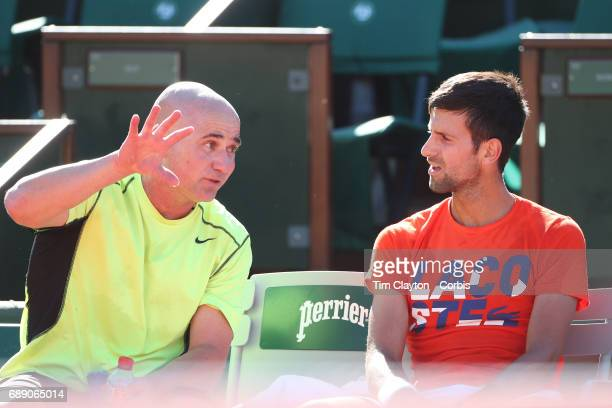 French Open Tennis Tournament Novak Djokovic of Serbia with his coach Andre Agassi practicing on Court PhilippeChatrier in preparation for the 2017...