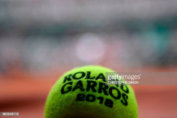 French Open tennis tournament official ball is pictured at the Roland Garros stadium on May 26 2018 in Paris