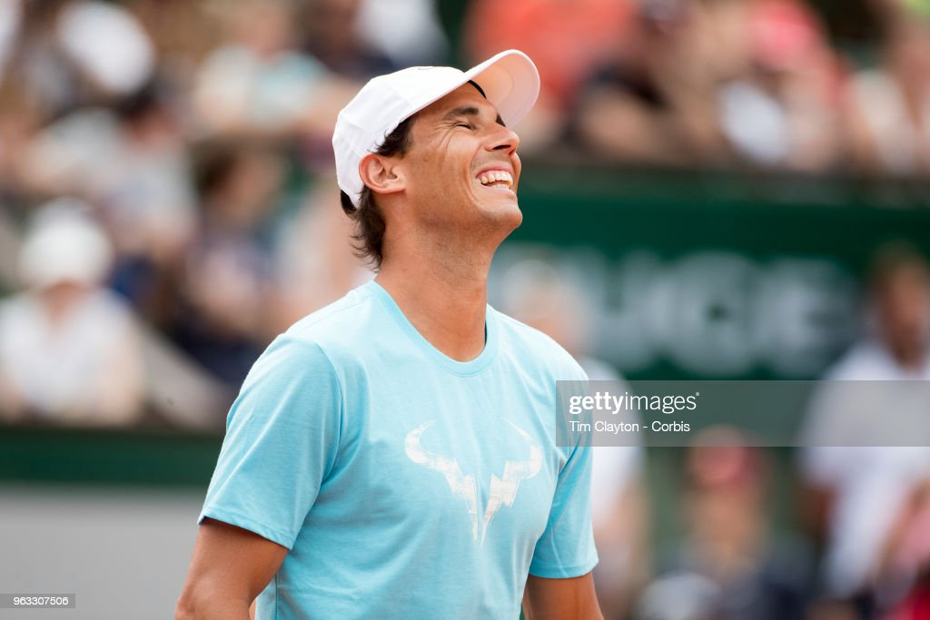 French Open Tennis Tournament - Rafael Nadal of Spain during a packed Children's Day at Roland Garros before the start of the 2018 French Open Tennis Tournament at Roland Garros on May 26th 2018 in Paris, France.