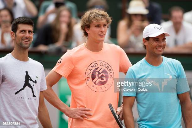 French Open Tennis Tournament Rafael Nadal of Spain Novak Djokovic of Serbia and Alexander Zverev of Germany on Court Philippe Chatrier during a...