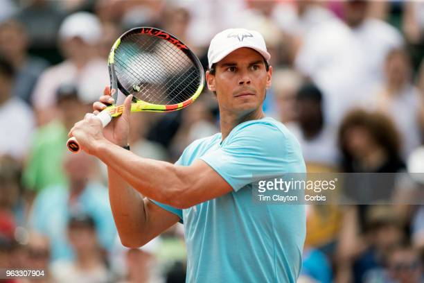 French Open Tennis Tournament Rafael Nadal of Spain while playing with Novak Djokovic of Serbia in a tie break doubles exhibition match against...