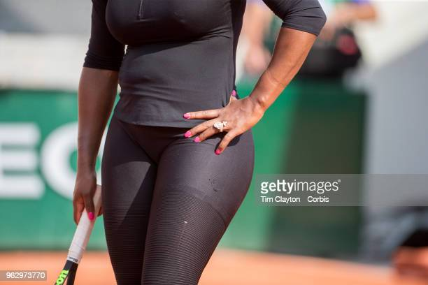French Open Tennis Tournament Serena Williams of the United States training on Court Suzanne Lenglen in preparation for the 2018 French Open Tennis...