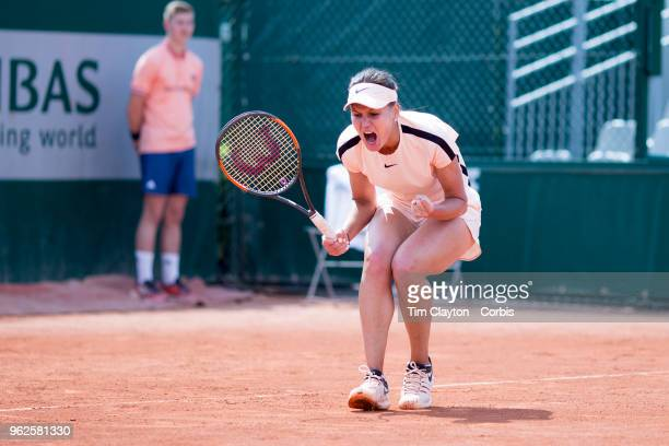 French Open Tennis Tournament Veronika Kudermetova of Russia celebrates a break of serve during her victory over Nicole Gibbs of the United States...