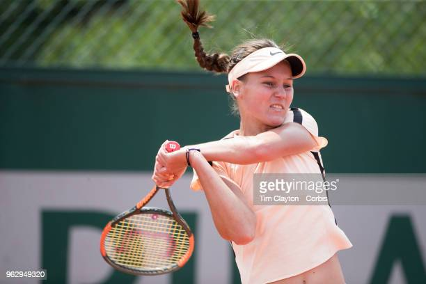 French Open Tennis Tournament Veronika Kudermetova of Russia in action during her victory over Nicole Gibbs of the United States during the 2017...