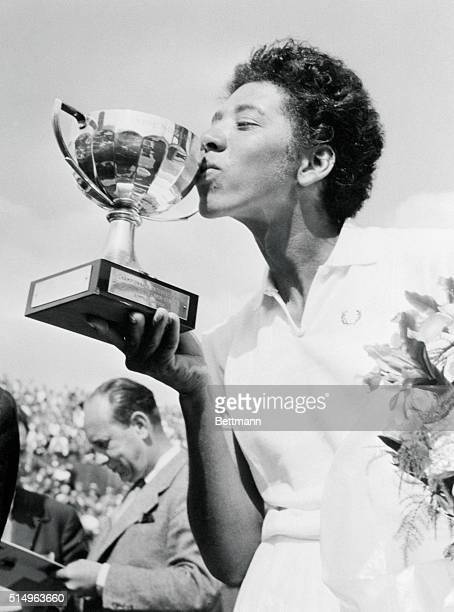 French Open Winner Althea Gibson Kissing Trophy on May 26 1956