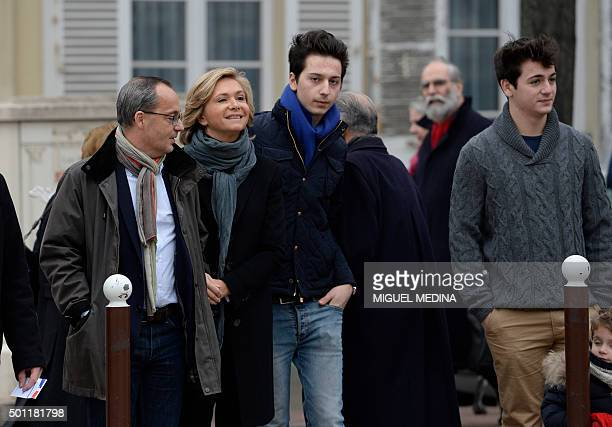 French opposition right-wing Les Republicains party top candidate for the regional elections in the Ile-de-France region, Valerie Pecresse with her...