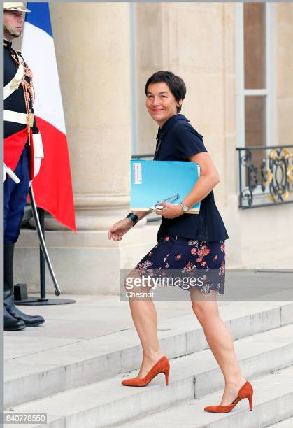 French Overseas Minister Annick Girardin arrives at the Elysee presidential palace for the weekly cabinet meeting on August 30 2017 in Paris France...