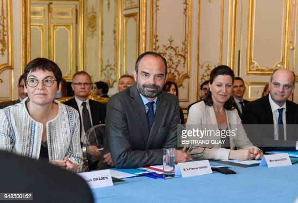 French Overseas Minister Annick Girardin French Prime Minister Edouard Philippe French Minister for Solidarity and Health Agnes Buzyn and French...