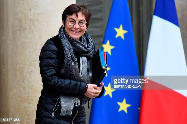 French Overseas Minister Annick Girardin leaves after a weekly cabinet meeting on December 13 2017 at the Elysee palace in Paris / AFP PHOTO /...