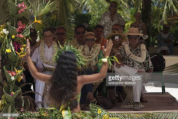 French Overseas Territories Minister George PauLangevin president of French Polynesia Edouard Fritch and High Commissioner Lionel Beffre look at a...