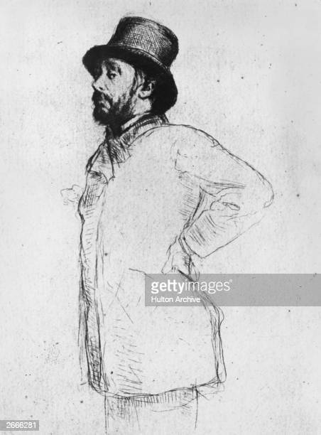 French painter and sculptor Edgar Degas Drawing by Morcillin Desboutins