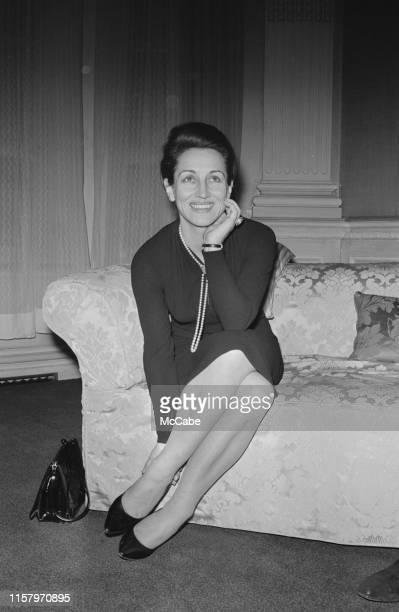French painter critic and bestselling author Francoise Gilot sitting on a couch UK 3rd March 1965